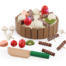 Wooden Magnetic Cut Mini Cake Children Cut Fruit Simulation Puzzle Assembly Educational Toys Baby Make Cake