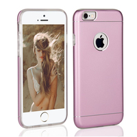 Wholesale dual layer cell phone cases,For iphone 6 matte back cover, aluminum with tpu bumper cases for iPhone 6