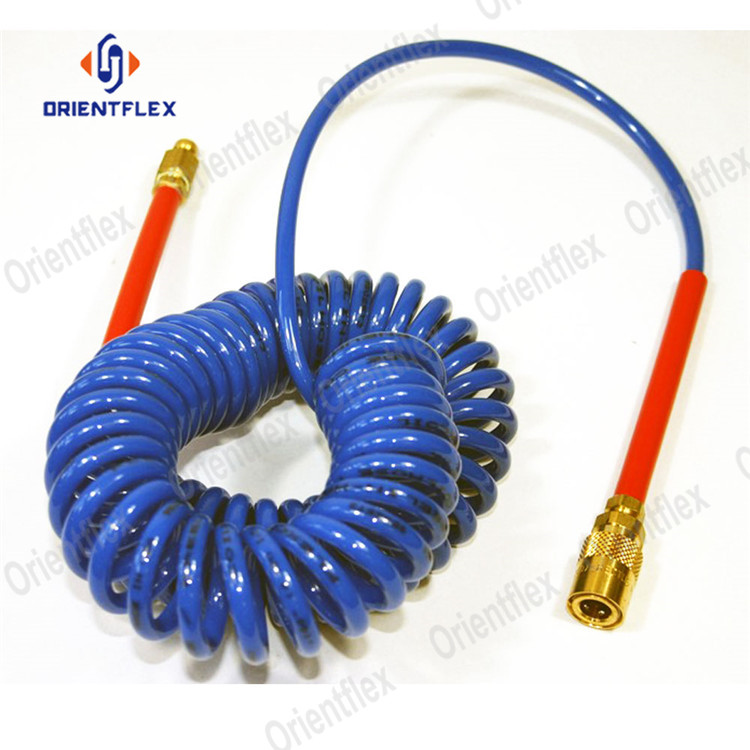 Recoil coiled truck air brake coiled air compressor hose recoil