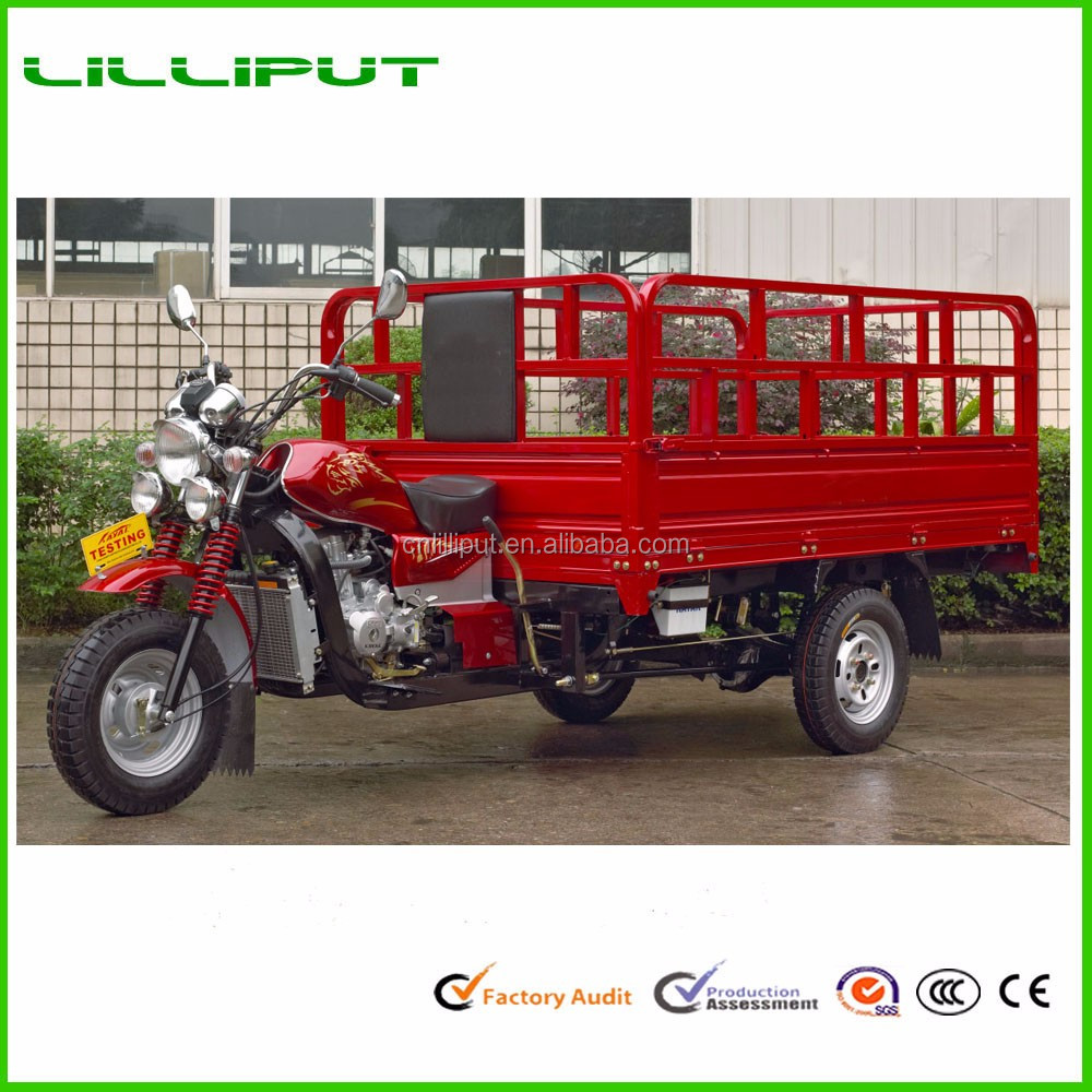 Large Cargo Box Water Cooled Triple Head Light 3 Wheel Motor Tricycle