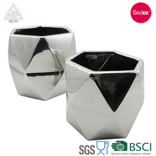 ceramic latest design geometrical concrete flower pot for garden decoration