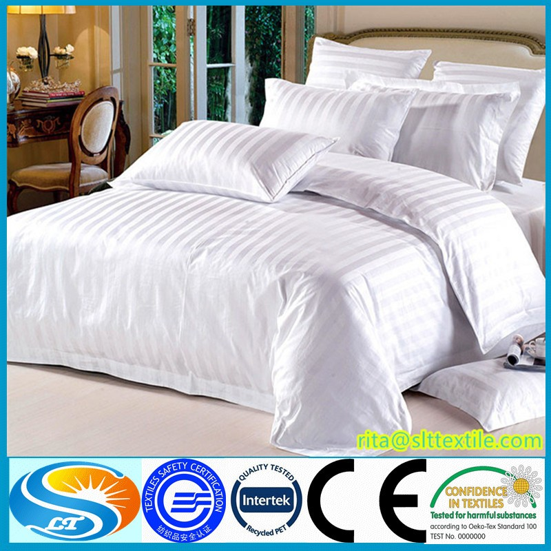 100% cotton plain/sateen/sateen strip/jacquard hotel bed sheets China supplier