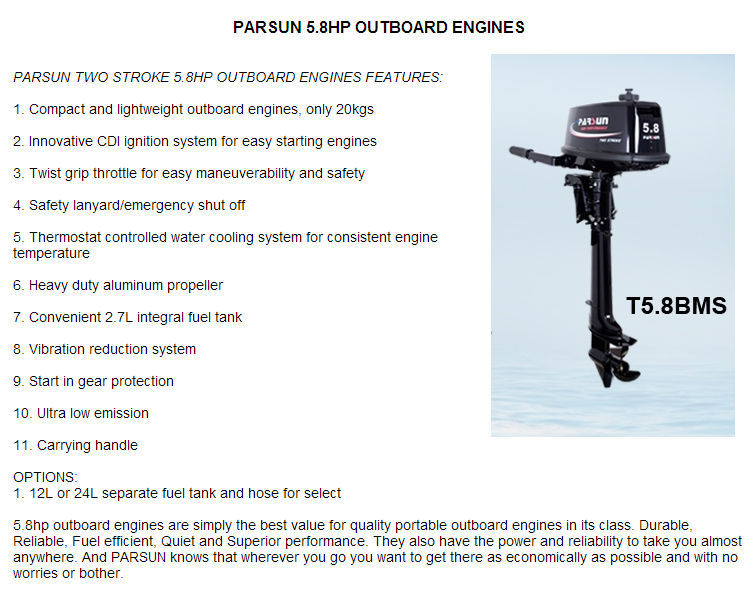 5.8hp 2 stroke outboard engine
