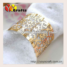 200pcs/lot gold color Laser cut Metallic Paper Napkin Rings for Wedding Table Decoration from