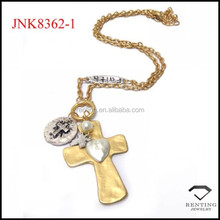 High quality matte gold and silver cross with faith word charm pendant necklace
