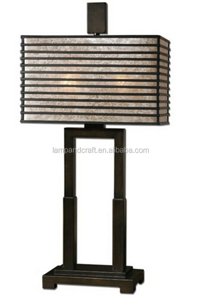 upscale gracious metal desk light Metal rectangle shade with an oil rubbed bronze finish and champagne mica liner