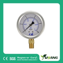 "1.5"" filled Bourdon tube pressure gauge on Reverse Osmosis system"