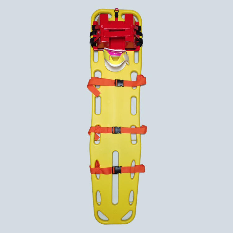 Emergency set of head immobilizer,cervical collar,spine board, straps and splint
