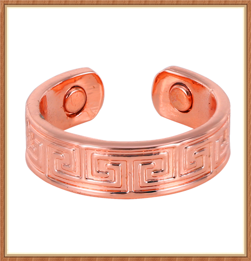 Greek key pattern Bio magnetic Cuff copper jewelry ring