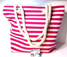 red striped cotton canvas bulk bag with tags