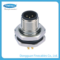 M12 male panel mount solder front fastened plastic and aluminum square tube connector 50mm