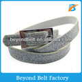 Ladies' Silver Color Skinny Glitter Faux PU Leather Dress Belt