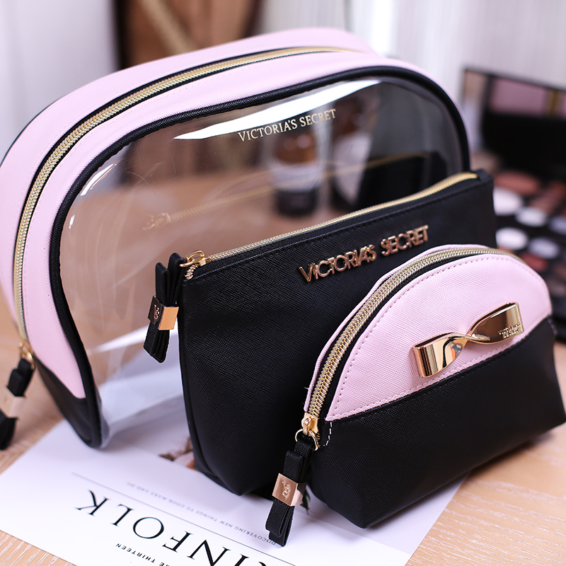 Wholesale luxury transparent clear pvc makeup pouch toiletry cosmetic make up bag set