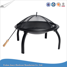 22 Inch Round Black Steel Foldable Indoor and Outdoor Fire Pit