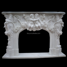 Modern White Stone Angel Statue Fireplace For Sale
