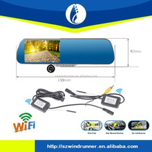 5 Inch wireless Monitor OEM Rearview Mirror 1080P Manual Car Camera HD DVR with android +wifi+GPS navigation+FM Transmitter