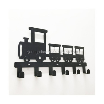 Metal Wall-mounted Train Shape Towel Clothes Hanging Rack Hooks