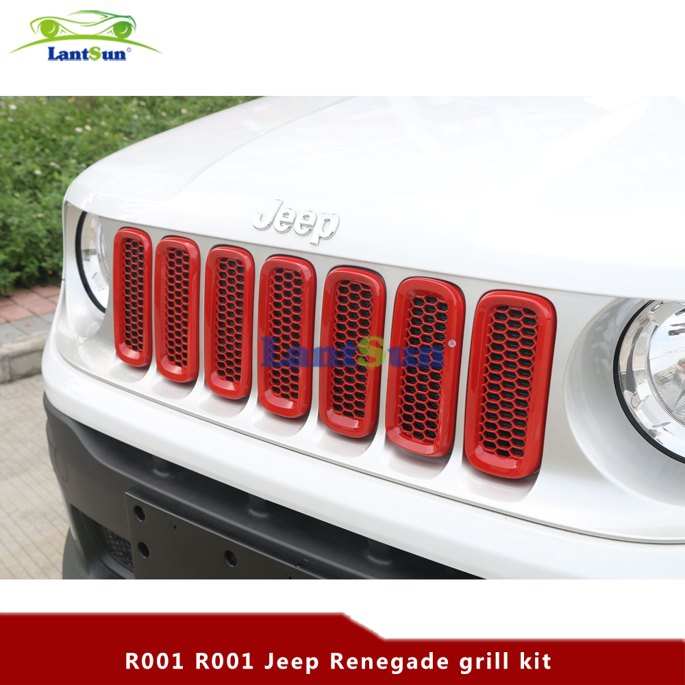 Red ABS Car Front Grille Insert Mesh Trims Frame Cover For 2015-2016 Jeep Renegade R001