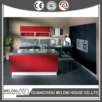 Glossy red with black built-in color indian style kitchen design