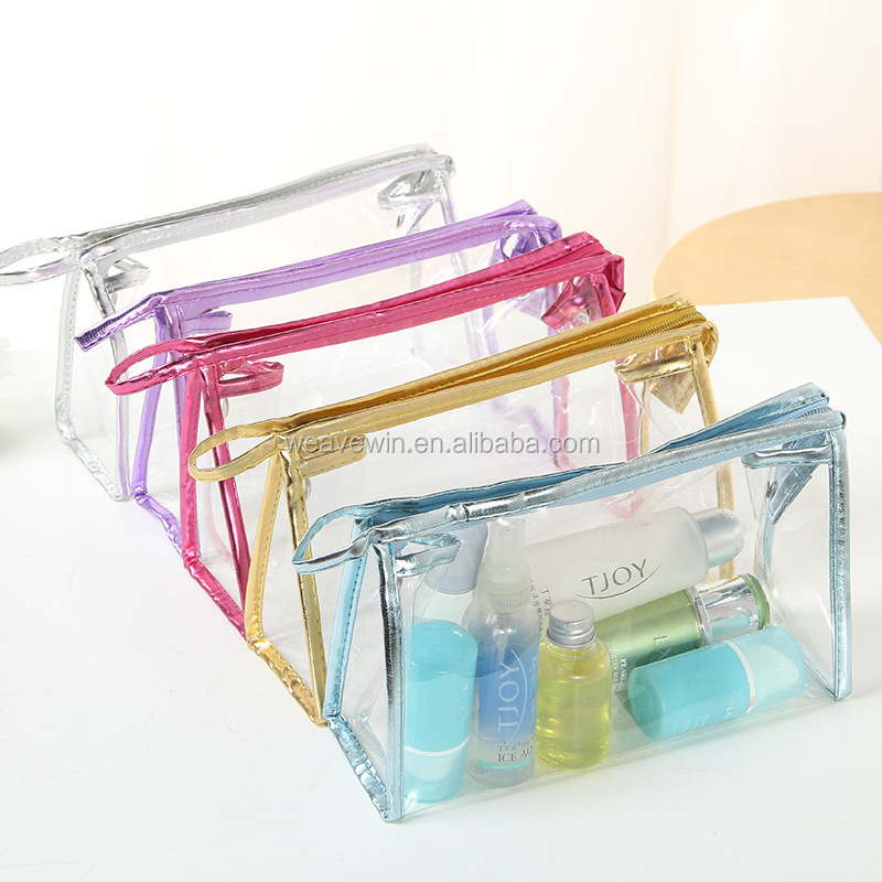 Custom luxury cheap beautiful transparent plastic clear cosmetic bag for cosmetic displaying