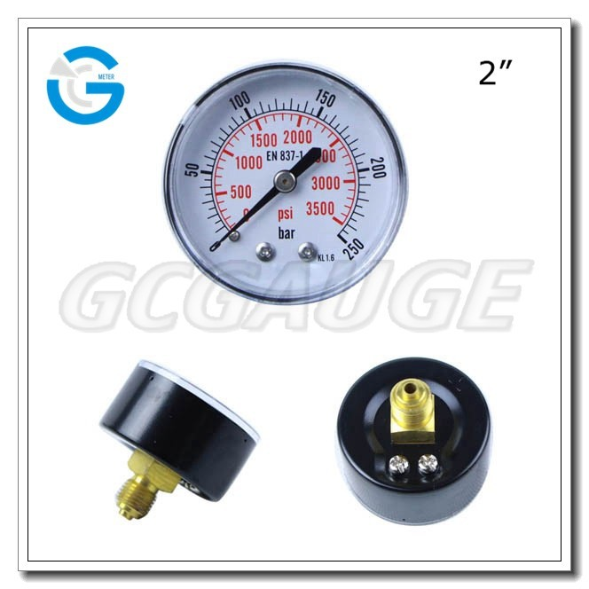 High quality 2 inch 50 mm bourdon tube back connection type pressure gauge air