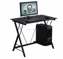 Hot sale black tempered glass top computer desk with CPU holder RX-D1156
