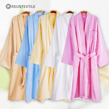 Wholesale 100% cotton orange Kimono collar stain bathrobe gift set for women