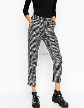2016 printed fashion wholesale women pants with side pocket