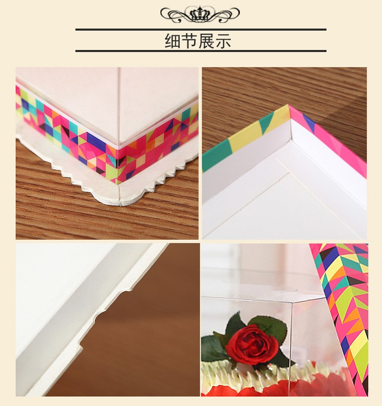 6'' 8'' 10'' 12'' Custom Logo Clear Plastic Folding Packaging Cake Boxes
