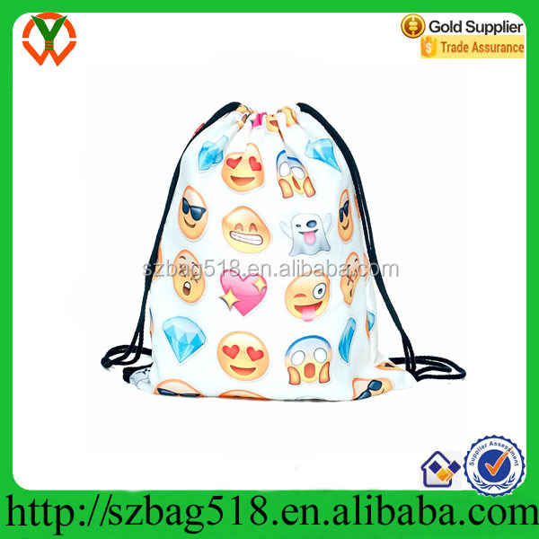 Drawstring Backpack Cute Emoji Daily Pull String Bag Girls Smile Face Kid's School Bag
