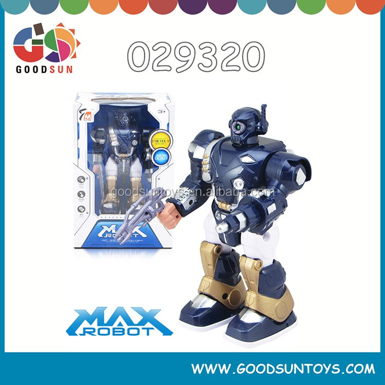 battery operated small robot with light and music 360 degree rotation battery power robot for children