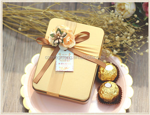 Wholesale small square wedding candy chocolate gift metal tin box with ribbon for birthday party