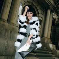 Lady's Fashion Fox Fur And Rabbit Coat/Wholesale And Retail