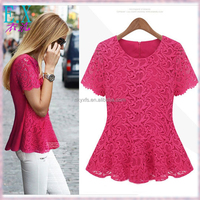 Korean Style Ladies Summer Lace Coated Short Sleeves Tight Waist Fitted Blouse with Back Zipper/Whosale Women's Tops