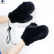Factory directly custom black color string knitted real rabbit fur winter mittens for adults