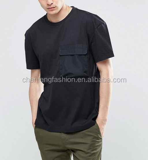 Mens Boxy Shoulders Front Pocket Detail Fit tshirt