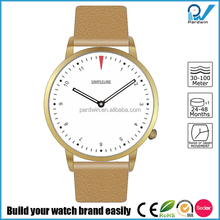 Premium Italian leather minimal design 4 PM crown positioning watches quartz stainless steel watch water resistant