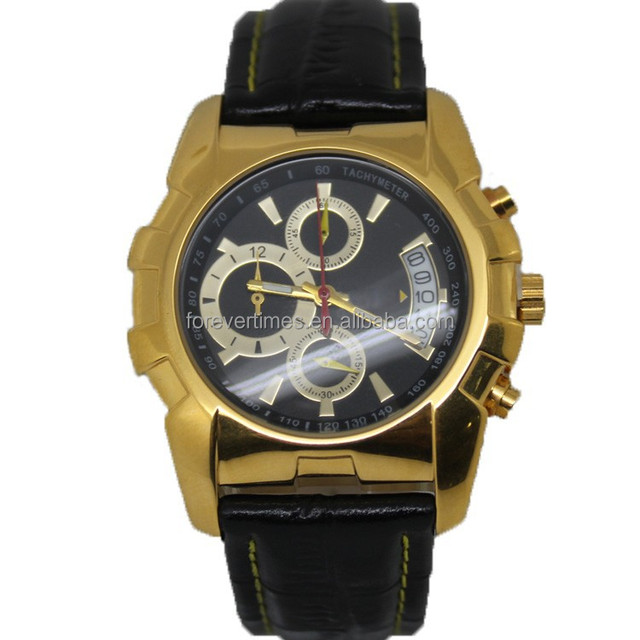 High quality stainless steel skeleton tourbillion gold men watch