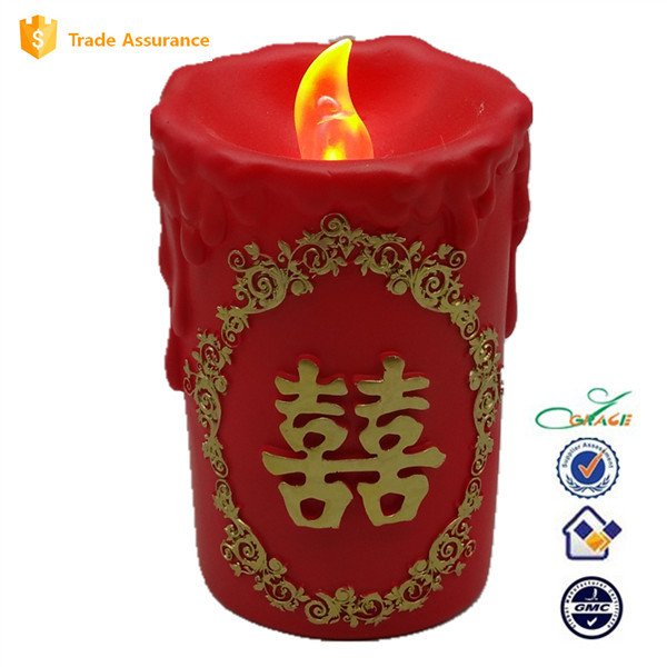 Resin chinese wedding candle with led