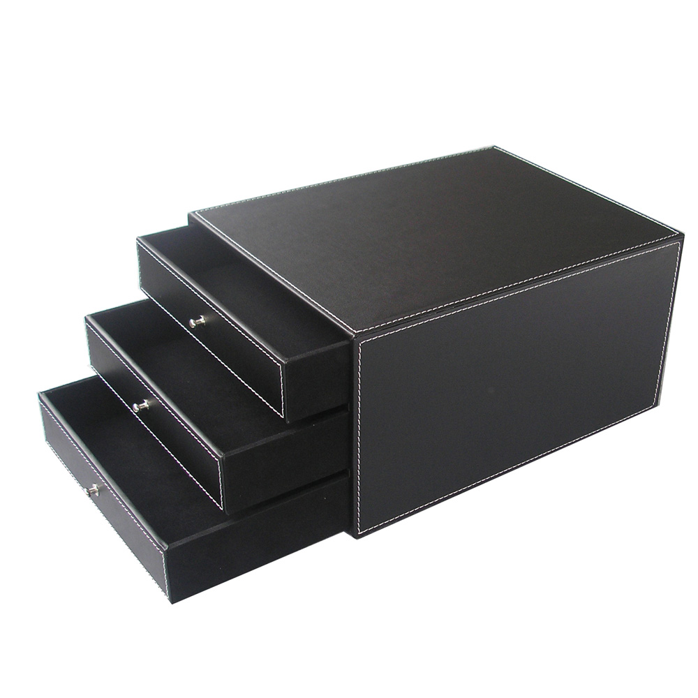 Drawer Style Office Storage Box Desktop Leather File Document Tray
