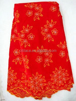j232-1 high quality red color 100% swiss velvet fabric for african party