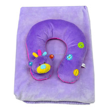 Portable soft touch travel pillow and blanket set