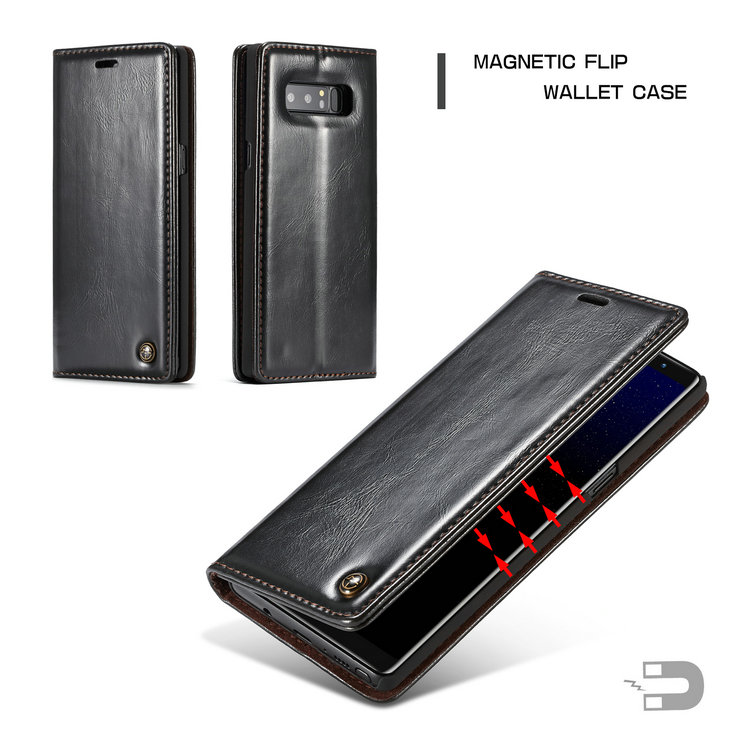 CaseMe Leather Wallet Case For Samsung Galaxy Note 8 R64 PU magnetic Stand Flip