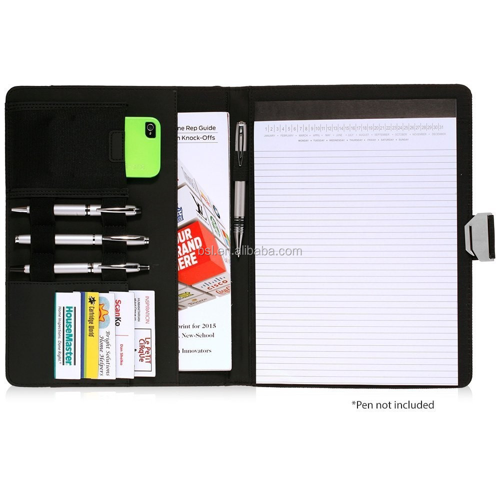 Guangzhou Handmade PU leather File Folder With paper A4 Sheet notebook