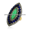 Natural chrysoprase & lapis gemstone cocktail ring, 18k gold marquise shaped diamond cocktail rings, wholesale handmade jewelry