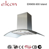 hot sale best ultra thin curved glass copper motor mechanical switch 4 LED 900mm european style island chimney range hoods