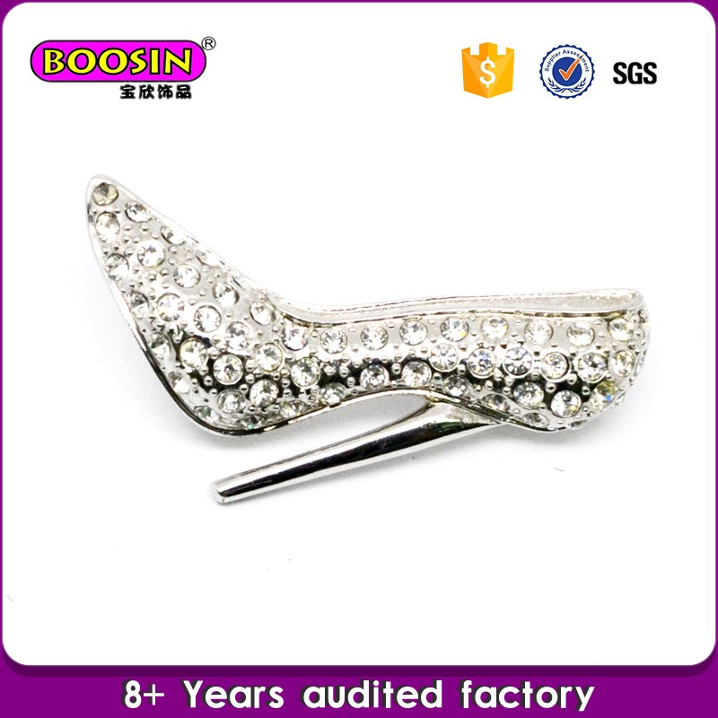 Latest Trendy Design Crystal High heel shoe brooch pin