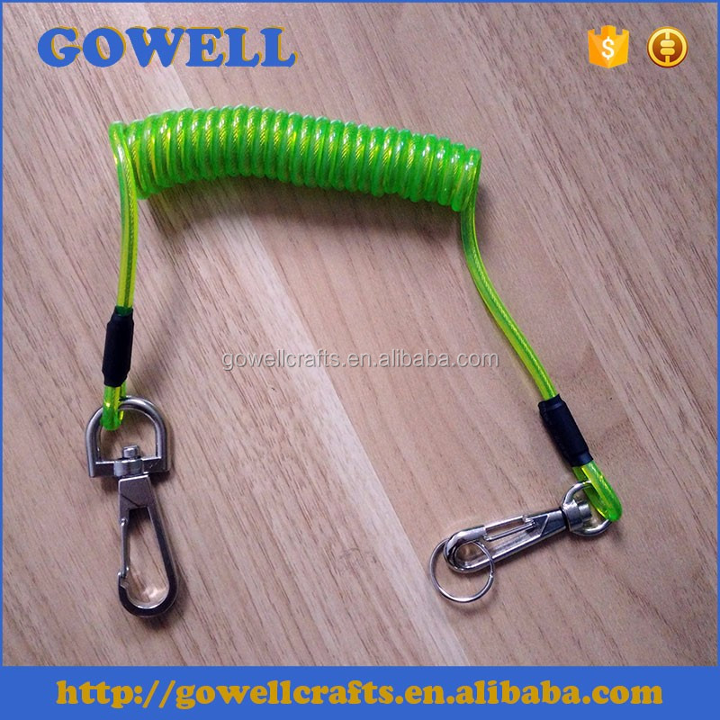 Spring coil tool lanyard fishing rod safety lanyard with hook