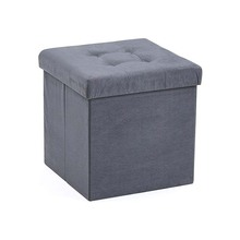 Foldable modern grey color storage ottoman for home <strong>furniture</strong> with 4 buttons