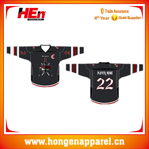 Hongen lasterst sublimation printing hockey jersey custom/team canada ice hockey jersey